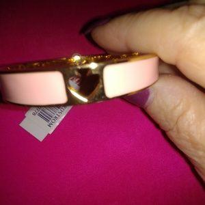 Kate Spade pink enamel gold spade bracelet